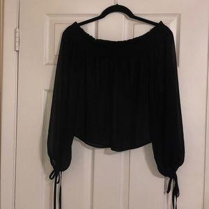 Black forever 21 off the shoulder sheer top